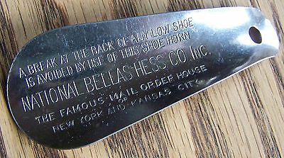 Vintage Advertising Shoehorn National Bellas Hess Company Shoe Accessory