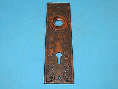 Antique Victorian Eastlake Style Door Knob Back Plate with Skeleton Key Hole