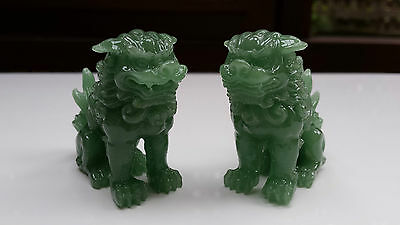 BN Pair of Fu Dogs 50mm high Temple Lions Lion Dogs Feng Shui Jade Finish Resin