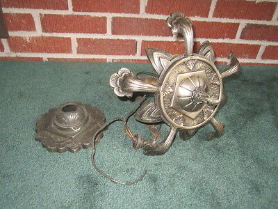 Vintage 1930s Art Deco Cast Iron Slip Shade Ceiling Light Fixture Chandelier