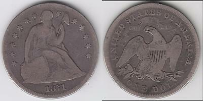 1871 Seated Dollar G-Vg Details