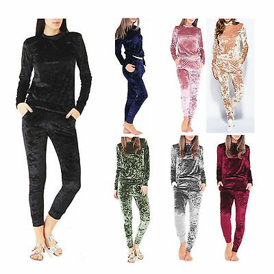 Women Ladies Kids Girls Crushed Velour Jogging Lounge Wear 2 Piece Tracksuit