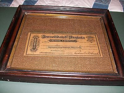 1878  CONSOLIDATED VIRGINIA MINING CO.  stock cert. framed