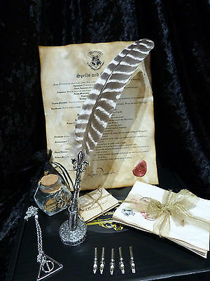 Q2 Quill Dip Pen set,Dragon's Blood Ink Bottle, Spells,Deathly Hallows necklace.