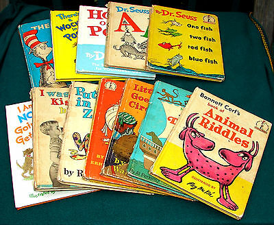 12 Vintage 1950-70's DR SEUSS & Beginner Books Club Editions 1st Graders No Ads