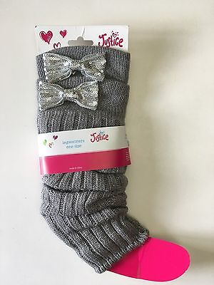 New Justice Girls Leg Warmers One Pair Gray Sparkle Bows Sequins Legwarmers
