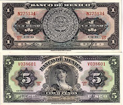 Mexico Currency Paper Money Two Bank Notes 1 & 5 Peso 1954 Unc