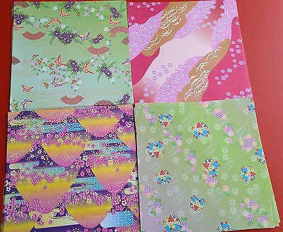 100 Sheets Japanese Fancy  Origami Chiyogami Paper Florals 4 Designs 150 X150mm