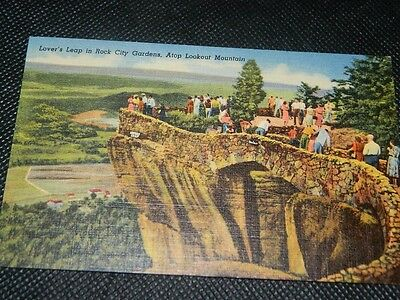 Lovers Leap ROCK CITY Lookout Mountain | Vintage Linen Post Card | Unposted