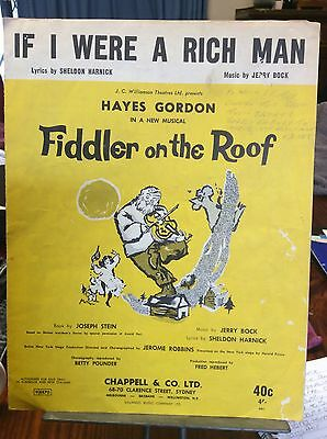 If I Were A Rich Man, From Fiddler On The Roof, SHEET MUSIC