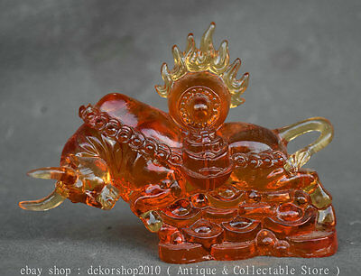 """5""""Rare Chinese Red Colored Glaze Fengshui 12 Zodiac Year Bull Oxen Wealth Statue"""