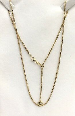 18k Solid Yellow Gold Wheat Chain/Necklace Adjustable Dangle Pendant 4.55Grams