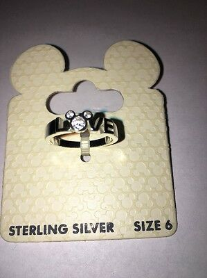Disney Mickey Mouse Icon Crystal Ring LOVE Sterling Silver Size 6