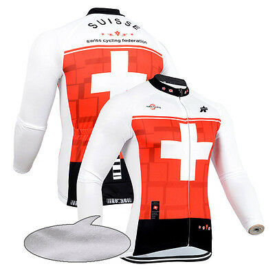 Fit M Mens Long Sleeve Cycling Tops Winter Bike Bicycle Jerseys Thermal Fleece