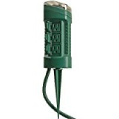 Woods 13547 6-Outlet Power Stake Timer with Light Sensor & 6-Foot Cord, Green
