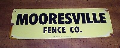 """Vintage Metal Sign Mooresville Fence Co. Mooresville NC 4""""x12"""""""