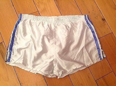 "VINTAGE RETRO SPRINTER SHORTS SIZE D7 36"" BLUE WHITE HIGH CUT 80s WET SHINY"