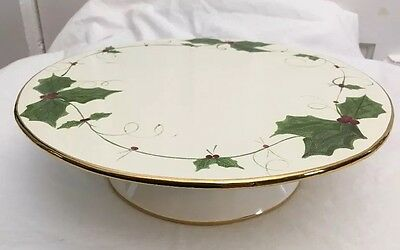 Laurie Gates Pedestal Cake Plate Christmas Holly with Gold Trim 2002 Made in USA