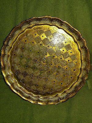 """Beautiful Large Vintage Florentia Italian Gold Tole Round Serving Tray 11 5/8"""""""