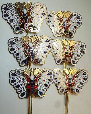 "6 Vintage Bookmark 5"" Cloisonne Butterfly Gold Enamel Brass Chinese Lot"