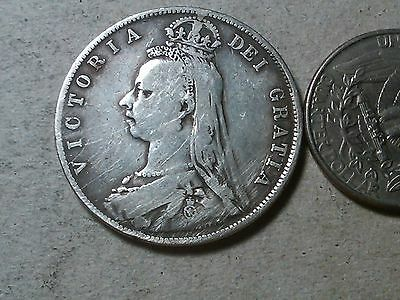 Great Britain 1890 Queen Victoria Half Crown (2/6d) - Sterling Silver Coin