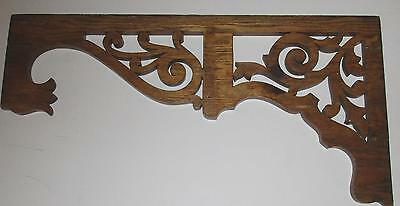 "Antique Carved Oak Wall Hanging - Fretwork - 28"" x 14"" One end - 8"" other end"