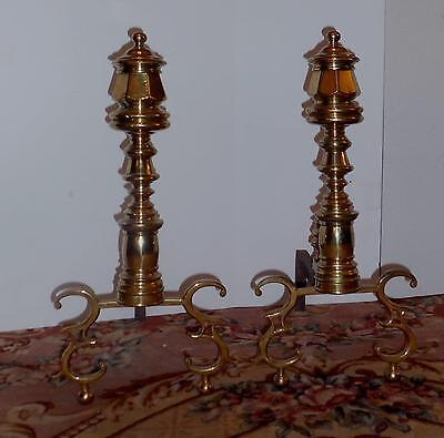 Pair Stately Antique Brass English Regency Style Andirons - 22""