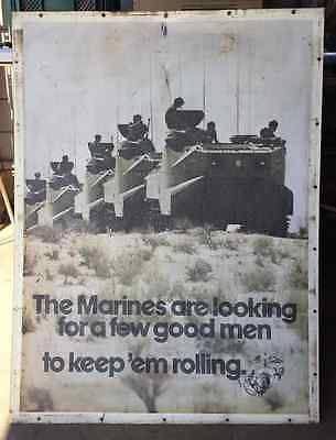 U. S. Marine Corps Metal Recruiting Poster two sided 1974