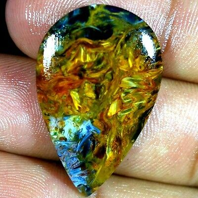 20.40Cts 100% NATURAL MAGNIFICENT GOLDEN PIETERSITE PEAR CABOCHON RARE GEMSTONES
