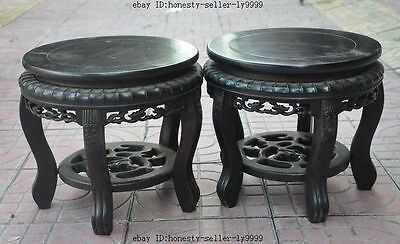 "12"" chinese Antique rosewood wood carved chair Bonsai Potted Pedestal Bases Pair"