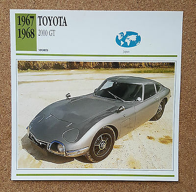 CLASSIC Cars Fact & photo reprint picture card TOYOTA 2000 GT Japan Sports car