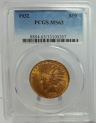 1932 $10 Gold Indian Eagle PCGS MS63
