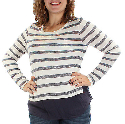 $60 New Womens 0593 Ivory Navy MAISON JULES Striped Jewel Neck Long Sleeve Top L