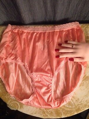 New Hanes Just Peachy 100% Nylon Satin Sissy Hi Cut Bikini Panties 7