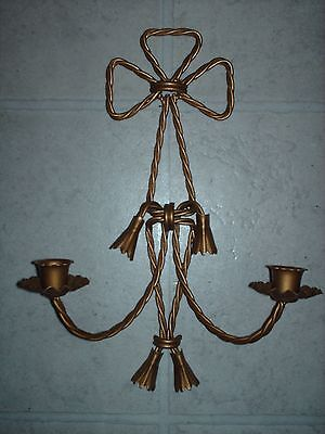 """Home Interiors Gold Metal Twisted Rope Wall Hanging Double Sconce 14"""" X 10"""""""