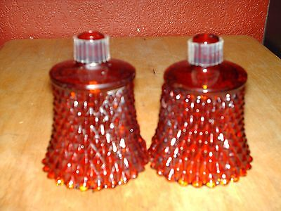Set Of 2 Home Interiors Red Colored Diamond Cut Votive Cups Or Candle Holders