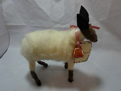 """Vintage 80s Country LAMB Wool Spun Figure SHEEP Handcrafted 7"""" tall x 7"""" long"""