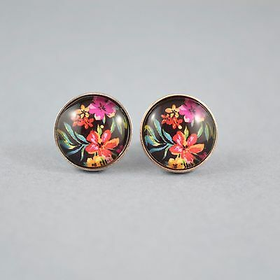 Glass Cabochon Stainless Steel Stud Earrings - Tropical Flowers
