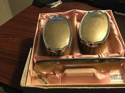 Two Sterling Silver Victorian Bushes & Comb set in Original Box