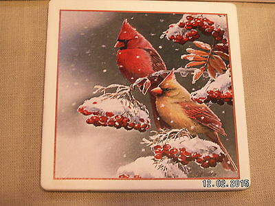Brand New 4 Pack Cardinal On Branch Absorbent Stone Coaster 4'' Diameter
