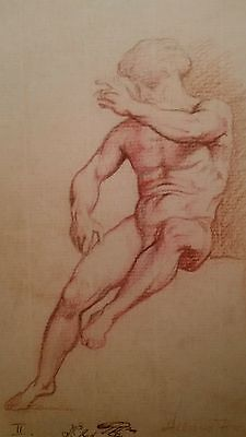 Old Master Drawing French school Study of a male figure Signed