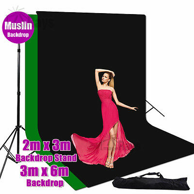 Photography Studio 3x6m Muslin Backdrop Background Stand Support With Bag Kit AU