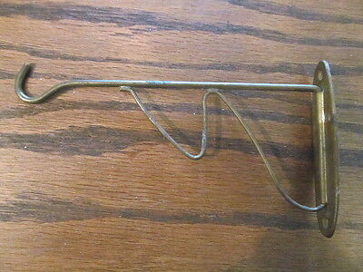 Original Vintage Wall Mount Bent wire solid brass Hook  Original finish Patina