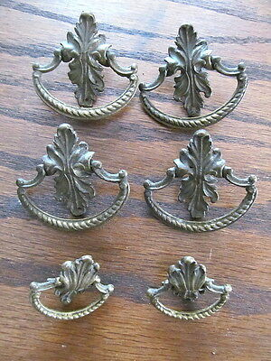 Set 6 vintage Brass Drop Bale Art Nouveau Style Furniture Drawer Pulls Handles