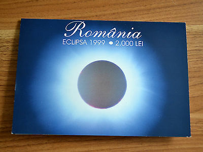 "Romania 2,000 Lei 1999  ""Total eclipse"" prefix 001A  With Folder POLYMER NOTE"