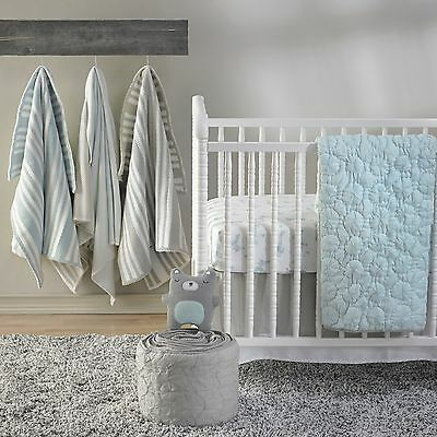 Boys Shabby Chic Starlight Blue Pinwheel Nursery Cot Quilt Coverlet Cocalo Crib