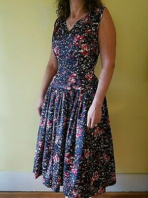"""Vintage Beautiful 1940s Rayon Party Dress 23"""" Waist Floral"""