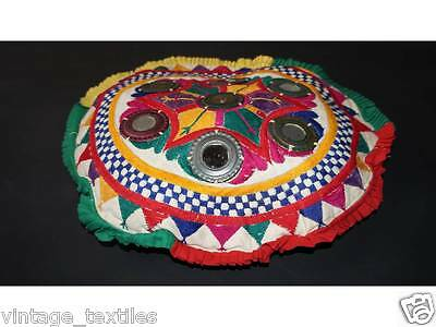 """17"""" Vintage Fabric Patchwork Traditional Round Footstool/Ottoman floor cushion"""
