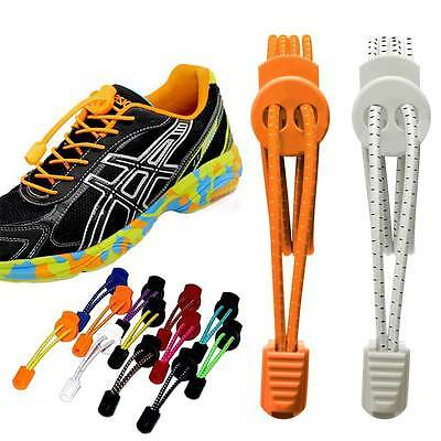Colourful Elastic Sports Laces Lock Shoelaces Trainer Running Jogging