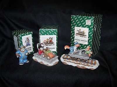 Fitz & Floyd Holiday Hamlet Enchanted  Conductor,  Porter, Hand Car with Truck